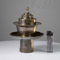 西藏十九世纪银错金莲师法王供盏 - 8253