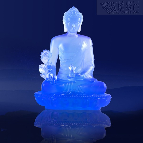 殊勝琉璃藥師佛像-紫藍色(大)