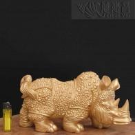 銅質盔甲犀牛擺件-金色單個販售