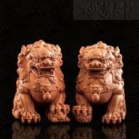 木質祥獅擺件
