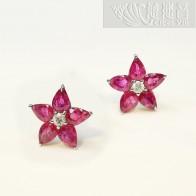 幸運星-紅寶石耳環