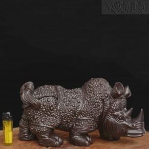 銅質盔甲犀牛擺件-古銅色單個販售
