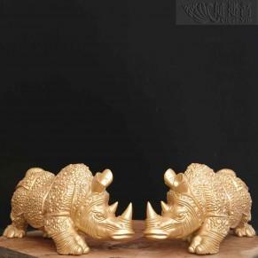 銅質盔甲犀牛擺件-金色一對