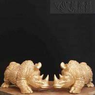 铜质盔甲犀牛摆件-金色一对