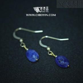 蕙质兰心-彩色蓝宝石注金耳环