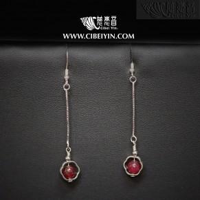 运转幸福-红宝石925银耳环