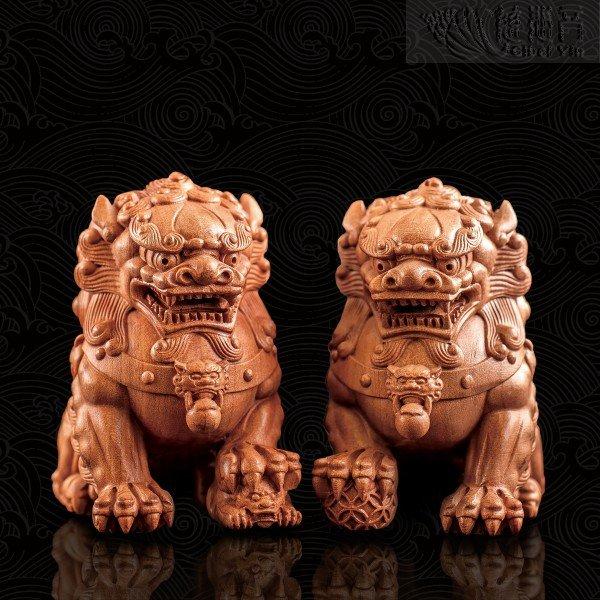 Handheld Wooden Auspicious Lion