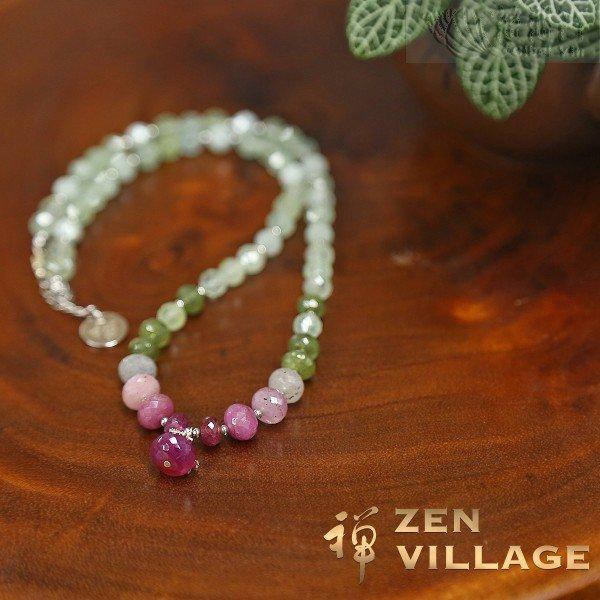 Fancy sapphire morganite prehnite 925 silver necklace