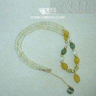 Happiness guard-Fancy sapphire morganite opal fluorite GF necklace