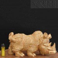 Copper Armor Rhinoceros Ornament - Single Golden piece for sale