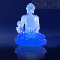 Divine Glazed Crystal Medicine Buddha Statue- Purplish Blue(Big)