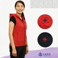 Hooded Vest--Vajra embroidery