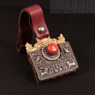 Grandmaster JinBodhi's Antiquities Collections-A Tibetan silver old coral leather bag