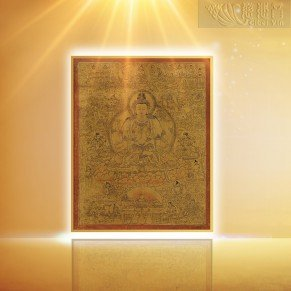 The Ming Dynasty Four-Arm Guanyin Bodhisattva Golden Thangka(Medium)