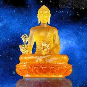 Golden Colored Glazed Crystal Medicine Buddha Statue(H:20cm)