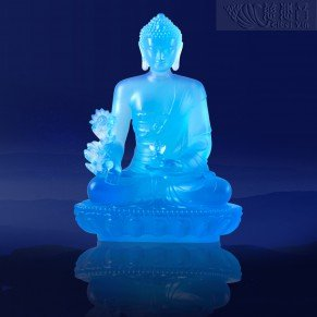 Divine Glazed Crystal Medicine Buddha Statue- Azure(Big)