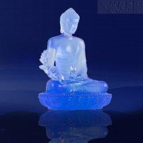 Divine Glazed Crystal Medicine Buddha Statue- Purplish Blue(Small)